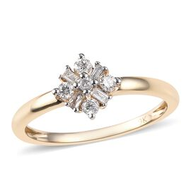 9K Yellow Gold SGL CERTIFIED Diamond (Bgt and Rnd) (I3/G-H) Ring 0.200 Ct.