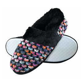 Dunlop Fluffy Knitted Slippers in Black Colour