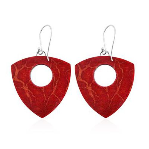Royal Bali Collection - Red Sponge Coral Hook Earrings in Sterling Silver