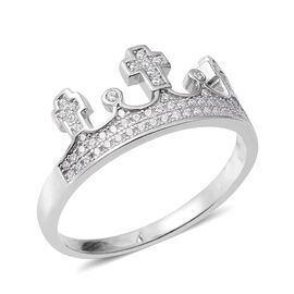 ELANZA Simulated Diamond (Rnd) Crown Ring in Rhodium Overlay Sterling Silver