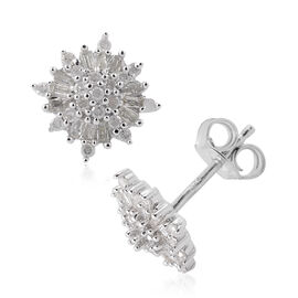 Designer Inspired- Diamond (Bgt and Rnd) Earrings in Platinum Overlay Sterling Silver 0.500 Ct.