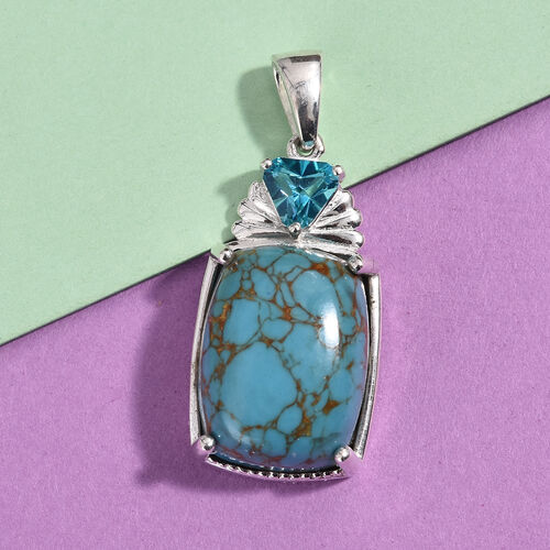 Blue Turquoise (Cush 16x12 mm), Signity Paraiba Topaz Pendant in Sterling Silver 10.50 Ct.