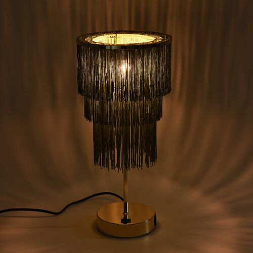 3 Layer Tassel Table Lamp with Two USB Port (H-42 Cm) - Green