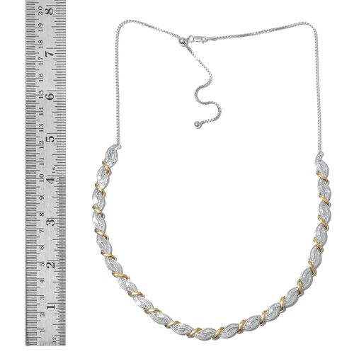Designer Inspired-Diamond (Bgt) Adjustable Necklace (Size 20) in Platinum and Yellow Gold Overlay Sterling Silver 3.000 Ct. Silver wt 22.00 Gms.