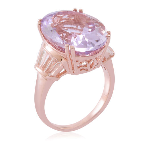 Limited Edition- Designer Inspired Rose De France Amethyst (Ovl 20X15 mm), White Topaz Ring in Rose Gold Overlay Sterling Silver 17.000 Ct. Silver wt. 6.55 Gms.