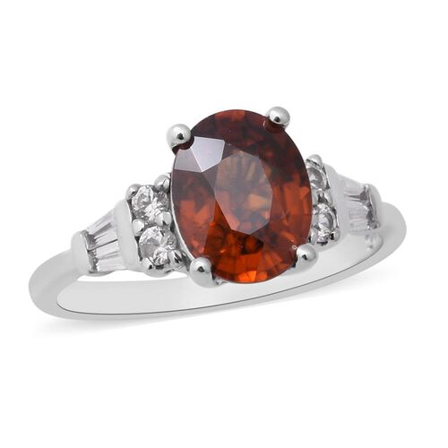 3.20 Ct Red Zircon and Zircon Solitaire Ring in Rhodium Plated Sterling Silver