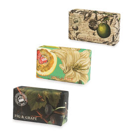 THE ENGLISH SOAP COMPANY- Kew, Royal Botanic Gardens Soaps 3 x 240g  Fruity:-Grapefruit and Lily, Lemongrass and Lime and Fig and Grape- Estimated delivery within 5-7 working days