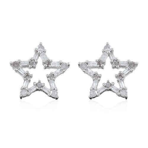 Diamond (Rnd and Bgt) Star Stud Earrings in Platinum Overlay Sterling Silver 0.500 Ct.