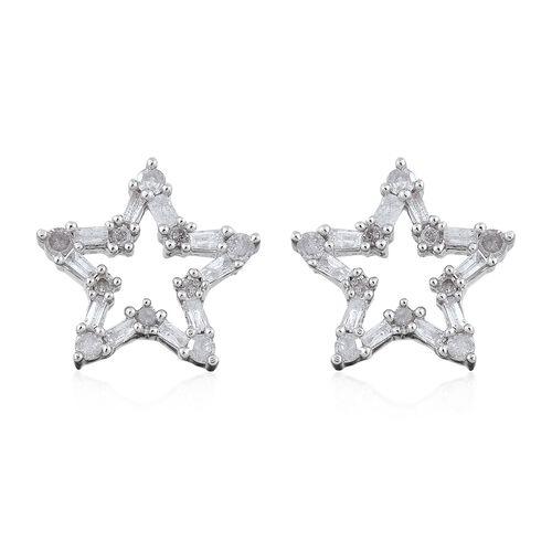 Diamond (Rnd and Bgt) Star Stud Earrings in Platinum Overlay Sterling Silver 0.500 Ct.