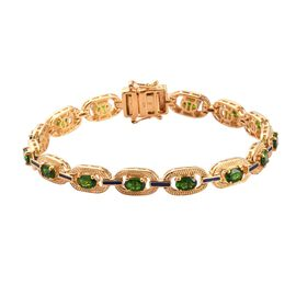 Russian Diopside Enamelled Bracelet (Size 8) in 14K Gold Overlay Sterling Silver 6.25 Ct, Silver wt