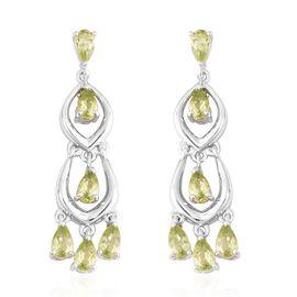 3.25 Ct Hebei Peridot Chandelier Earrings in Rhodium Plated Sterling Silver 4.90 Grams