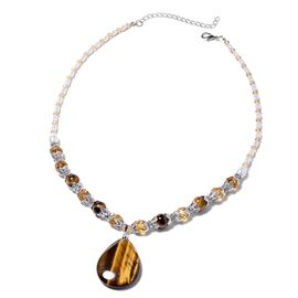 Tigers Eye (Pear and Rnd), Simulated Champagne Topaz, Austrian White Crystal and Simulated White Pea