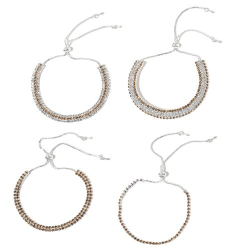 4 Piece Set - Champagne and White Austrian Crystal Friendship Bracelet (Size 6 to 10 Inch)