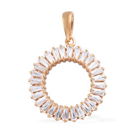 J Francis Made with Swarovski Zirconia Circle Pendant in Gold Plated Sterling Silver