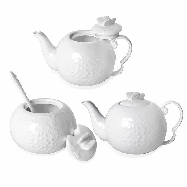 22 Piece Set - Art Deco - Butterfly Embossed Tea Set (Consists of 6 Cups, 6 Saucers, 7 Spoons, 1 Sugar Bowl, 1 Milk Bowl, 1 x 650ml Tea Pot)