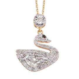 GP 0.52 Ct Diamond and Blue Sapphire Swan Cluster Pendant With Chain in 14K Gold Plated Silver