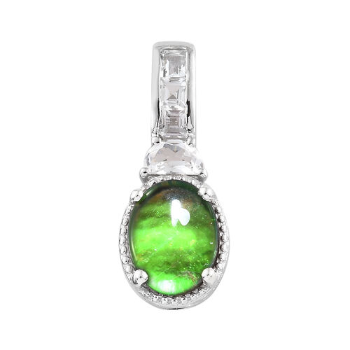 AA Canadian Ammolite (Ovl 10x8 mm), White Topaz Pendant in Platinum Overlay Sterling Silver.