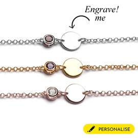 Personalised Initial and Birthstone  Bracelet