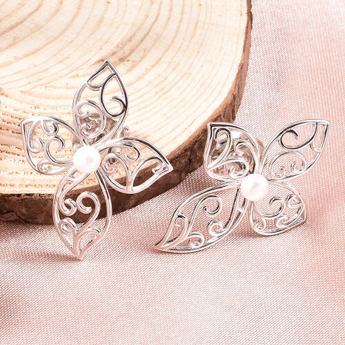 LucyQ White Freshwater Pearl Flower Petal Stud Earrings ( with Push Back )  in Rhodium Overlay Sterling Silver