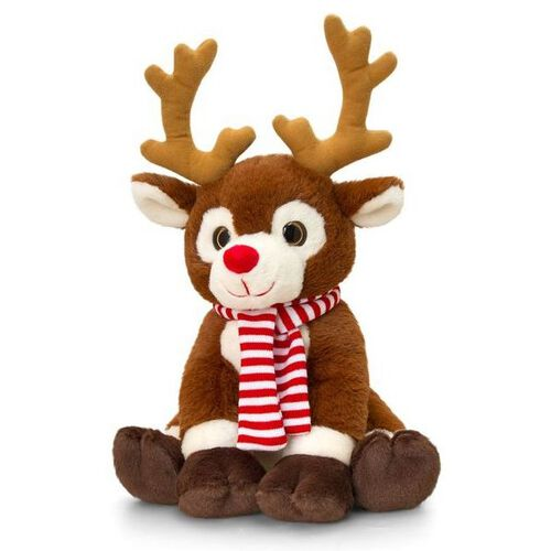 Keel Toys - Chocolate and White Colour Reindeer with Red and White Colour Scarf (Size 20 Cm)