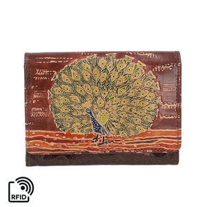 'Sukriti 100% Genuine Leather Rfid Protected Peacock Wallet (size 11.5x20.5x2.5cm) - Brown
