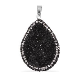 Black Drusy Quartz (Pear), Hematite Colour Austrian Crystal and White Austrian Crystal Pendant in Rh