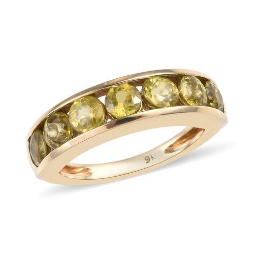 2.25 Carat Sava Sphene Half Eternity Band Ring in 9K Gold 3.20 Grams