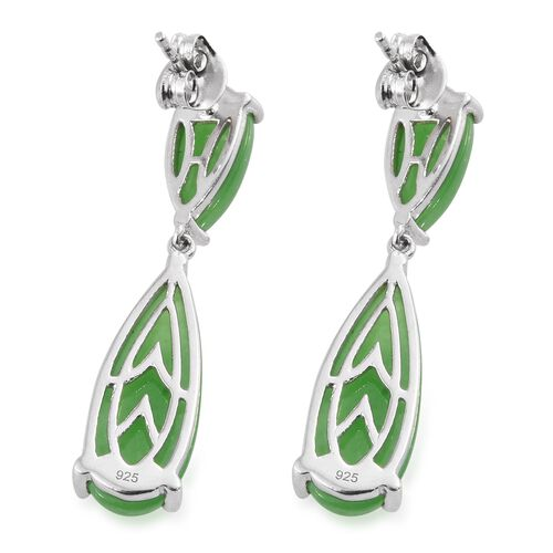 Green Jade (Pear) Drop Earrings (with Push Back) in Platinum Overlay Sterling Silver 18.250 Ct.