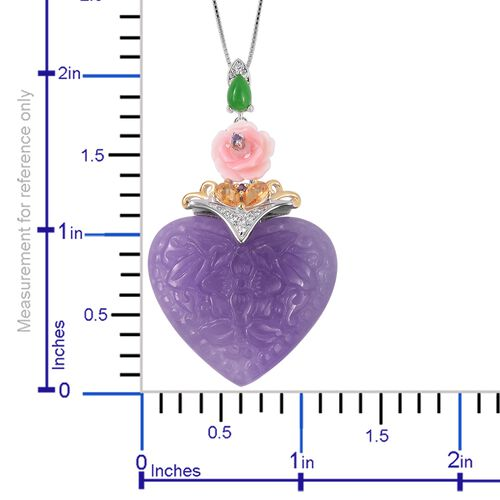 Purple Jade (Fancy 34.750), Multi Gemstone Heart Pendant with Chain (Size 18) in Rhodium and Gold Overlay Sterling Silver 37.585 Ct.