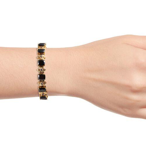 Elite Shungite (Cush 9x7 mm),Tanzanite Floral Bracelet (Size 8) in 14K Gold Overlay Sterling Silver 14.75 Ct, Silver wt 22.00 Gms