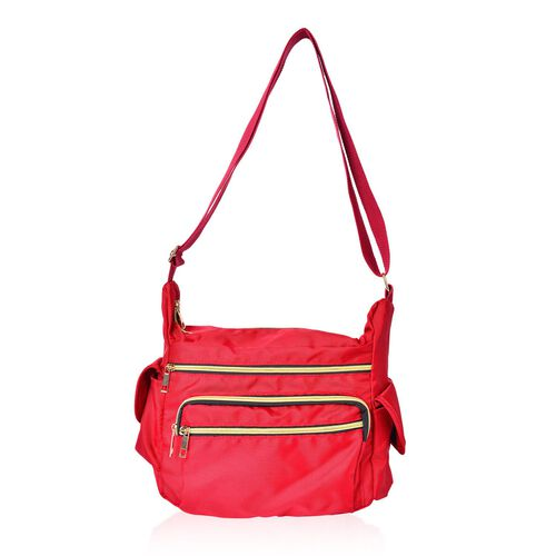 Red Colour Multi Pocket Waterproof Crossbody Bag with Adjustable Shoulder Strap (Size 28X20X10.5 Cm)