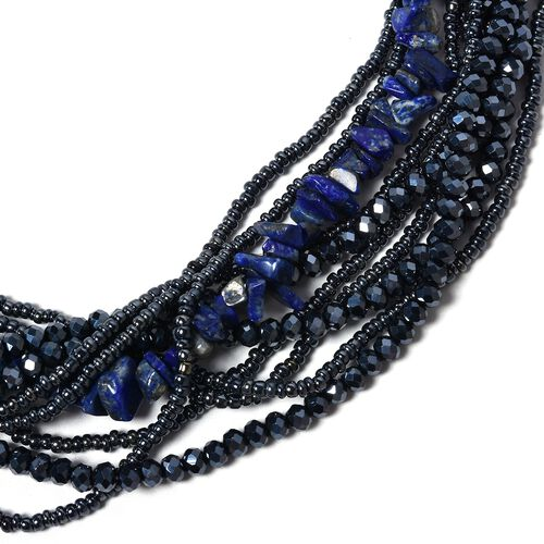 Lapis Lazuli, Multi Colour Beads and White Austrian Crystal Beads Necklace