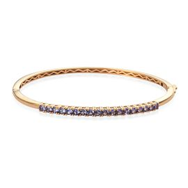 Tanzanite Bangle (Size 7.5) in 14K Gold Overlay Sterling Silver 1.53 Ct, Silver wt 11.80 Gms