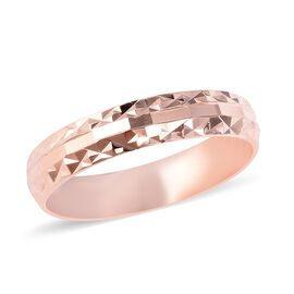 Designer Inspired- Rose Gold Overlay Sterling Silver Diamond Cut Band Ring (Size O)