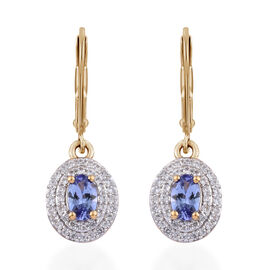 2.17 Ct Tanzanite and Cambodian Zircon Halo Drop Earrings in Gold Plated Sterling Silver