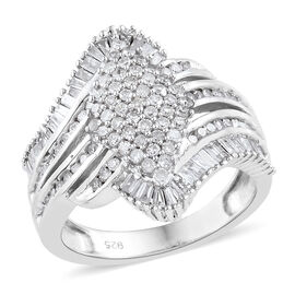 Diamond (Rnd and Bgt) Ring in Platinum Overlay Sterling Silver   1.000 Ct, Silver wt 5.00 Gms, Number of Diamonds 145.