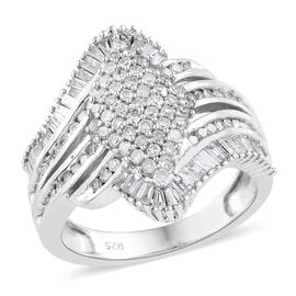 1 Carat Diamond Cluster Ring in Sterling Silver 5 Grams