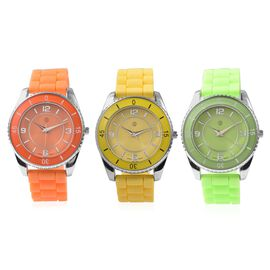 Set of 3 - STRADA Japanese Movement Water Resistant Watch in Stainless Steel with Orange, Yellow and