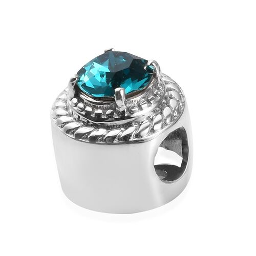 J Francis Crystal from Swarovski Blue Zircon Crystal and White Colour Crystal Charm in Platinum Overlay Sterling Silver
