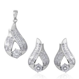 2 Piece Set - ELANZA Simulated Diamond (Rnd and Bgt) Earrings (with Push Back) and Pendant in Sterling Silver, Silver wt 7.00 Gms