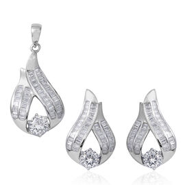 2 Piece Set - ELANZA Simulated Diamond (Rnd and Bgt) Earrings (with Push Back) and Pendant in Sterli