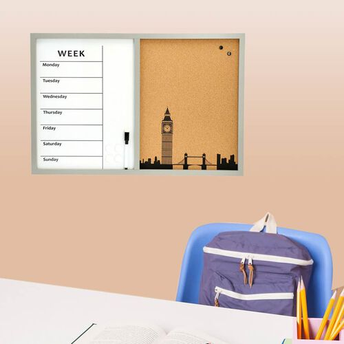 Daily Planner Dry-Erase and Cork Board (included- Magnetic Marker with Eraser Cap, 4 Magnet) (Size 60x40cm) - White