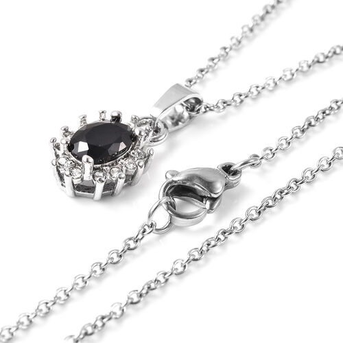 3 Piece Set - Black Spinel and White Austrian Crystal Ring, Earrings (with Push Back) & Pendant with Chain (Size 20) in Stainless Steel 4.50 Ct.