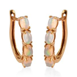 1.35 Ct Ethiopian Welo Opal Hoop Earrings in Gold Plated Sterling Silver