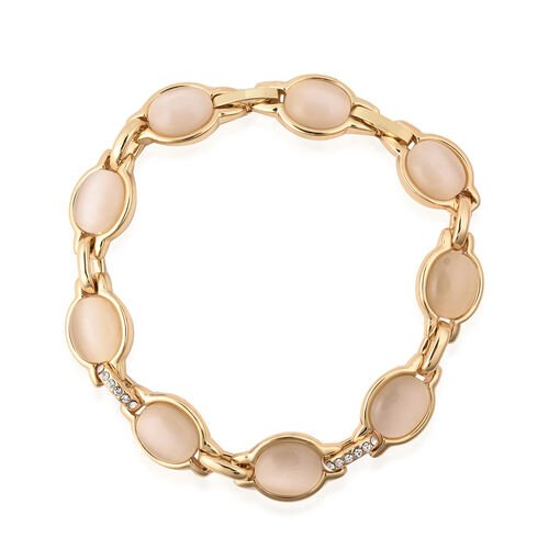 Simulated White Cats Eye and White Austrian Crystal Bracelet (Size 7.25) in Yellow Gold Tone