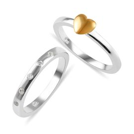 2 Piece Set - Natural White Cambodian Zircon (Rnd) Heart and Band Ring in Yellow Gold and Platinum O