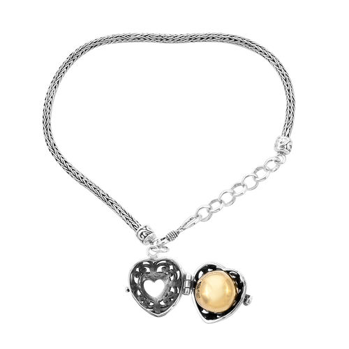Royal Bali Collection - Yellow Gold Overlay Sterling Silver Bracelet (Size 7 with 1 inch Extender) with Charm, Silver wt 12.50 Gms.
