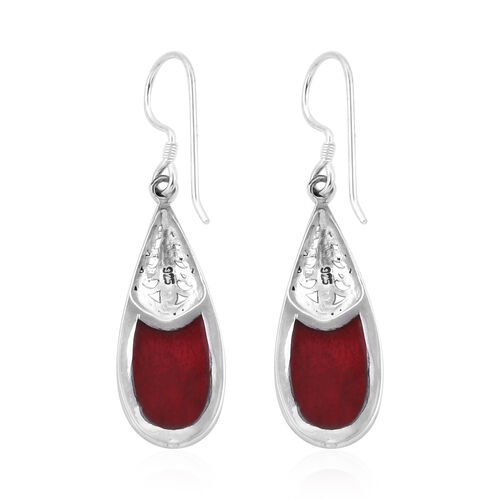 Royal Bali Collection Sponge Coral Drop Hook Earrings in Sterling Silver