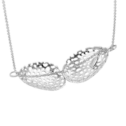 RACHEL GALLEY Rhodium Plated Sterling Silver Lattice Drop Pendant with Chain (Size 30), Silver wt. 17.80 Gms.