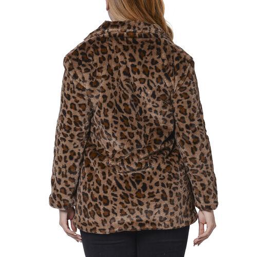 Leopard Pattern Faux Fur Coat (Size M; 54x75 Cm) - Brown
